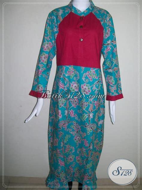 gamis batik modern kombinasi abaya batik bahan katun adem