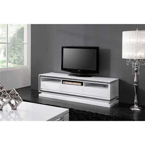 meuble de tv meuble tv design laque blanc haute brillance achat vente meuble tv meuble tv cdiscount