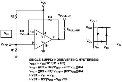 pull up resistor comparator output curing comparator instability with hysteresis analog devices