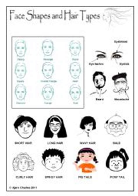 describing face shapes english worksheet face shapes and hair types