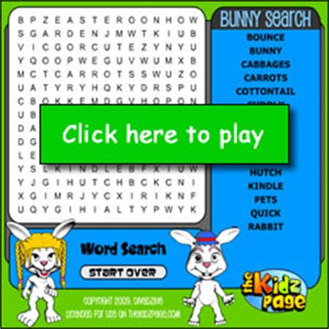 Free Search On Line Bunnies Search Word Free Childrens Flash For