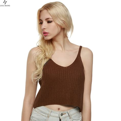 29797 Summer Crop Top fashion knitted tank summer vest crop tops casual knitting cotton casual tank