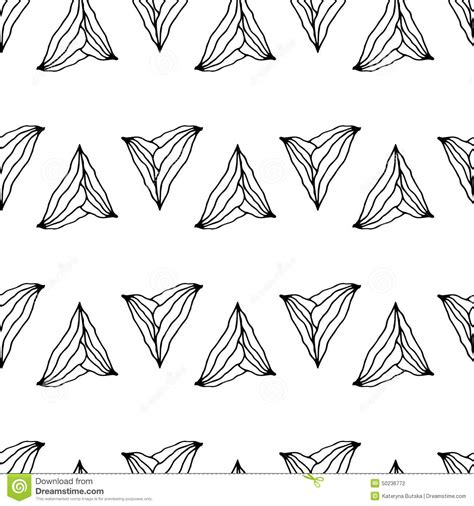 black and white hand pattern hand drawn seamless pattern with unusual triangles stock