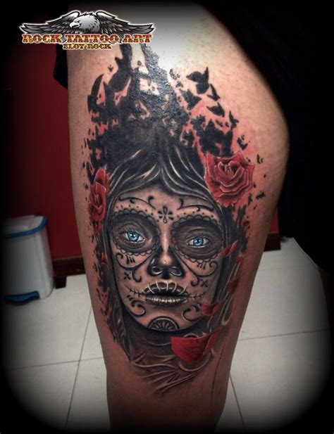 catrinas tattoo tatuaje en alicante catrina en muslo tattoos rock