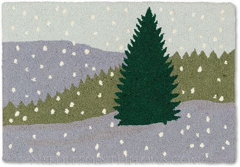 christmas tree hooked rug season rug