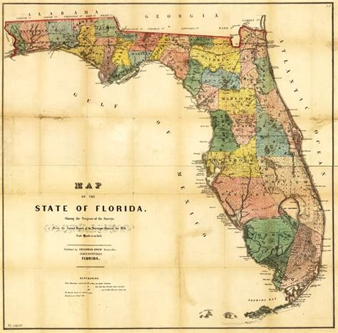 state of florida map map of the state of florida 1856