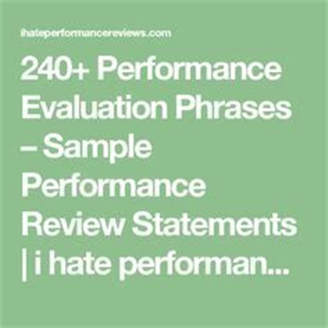 7 Phrases I Cordially Detest by 240 Performance Evaluation Phrases Sle Performance