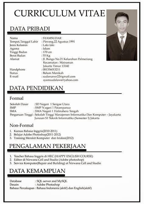 format cv bahasa indonesia word contoh singkat curriculum vitae bahasa indonesia info