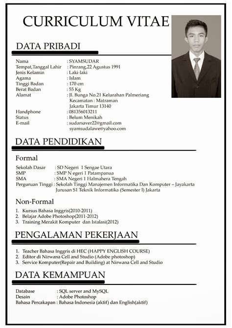 contoh singkat curriculum vitae bahasa indonesia info