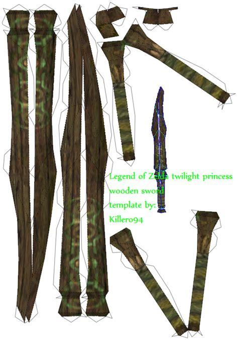 papercraft weapons templates wooden sword template by killero94 on deviantart