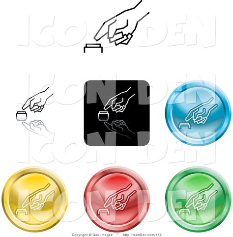 Set Of Coloured Buttons Stock Photo 169 Witchera Clip Of A Set Of Seven Different Colored Icon Buttons Of A Finger Pushing A Button By