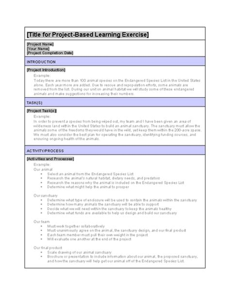 project based learning exle exercise planners templates