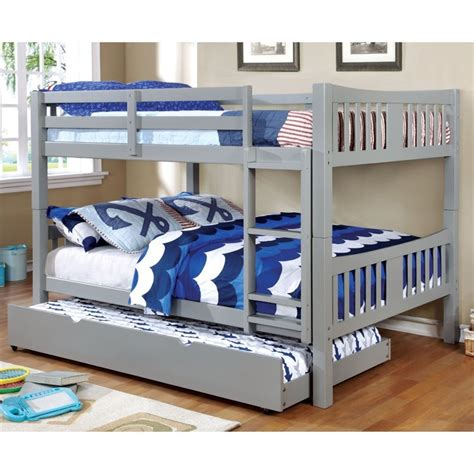 Grey Bunk Beds Furniture Of America Edith Bunk Bed In Gray Idf Bk929gy F