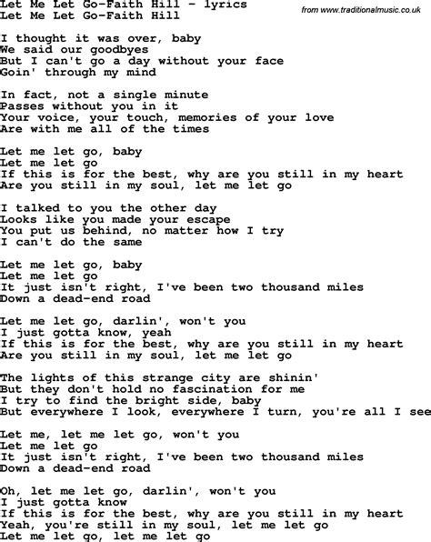 go song love song lyrics for let me let go faith hill