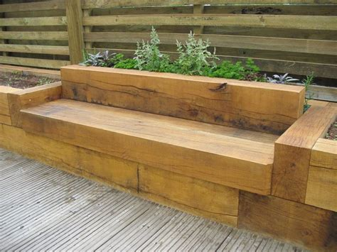 raised garden bed with bench seating oak bench with raised flower beds deck designs