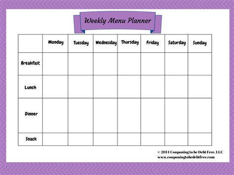 pin printable weekly menu planner template on pinterest