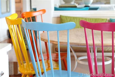 painting kitchen table and chairs different colors furniture makeover spray painting wood chairs in my own