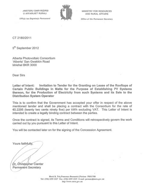 Letter Of Intent Tender Template Mizzi Says Letter Reveals Pullicino S Direct Involvement In Pv Contract Maltatoday Mt
