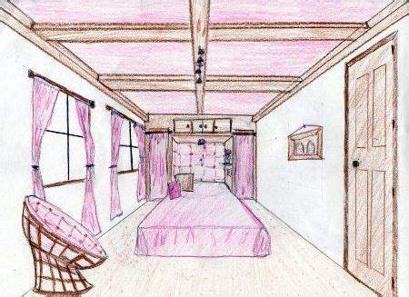 one point perspective bedroom drawings papasan chair perspective drawings dream bedrooms