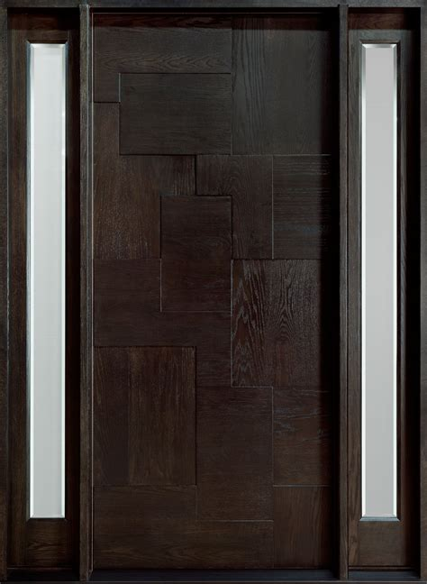 Custom Exterior Door Modern Front Door Custom Single With 2 Sidelites Solid Wood With Espresso Finish Modern