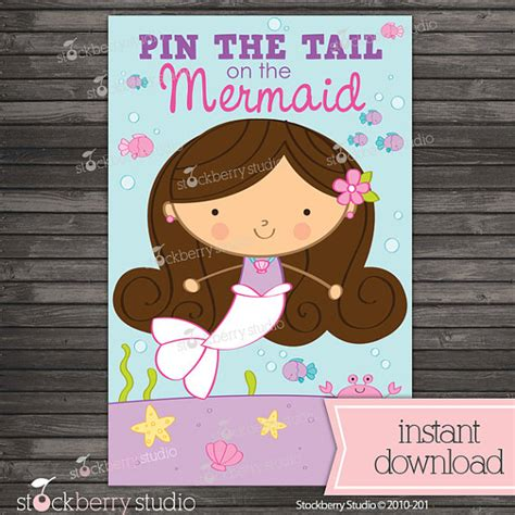 printable version of pin the tail on the donkey pin the tail on the mermaid printable party games
