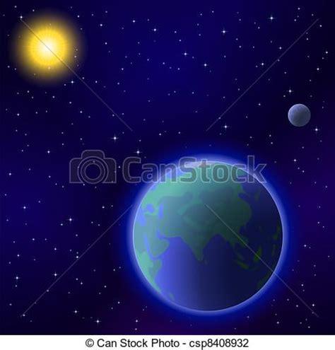 Ilustraciones De Vectores De Sol Tierra Luna Espacio   ilustraciones de vectores de sol tierra luna espacio