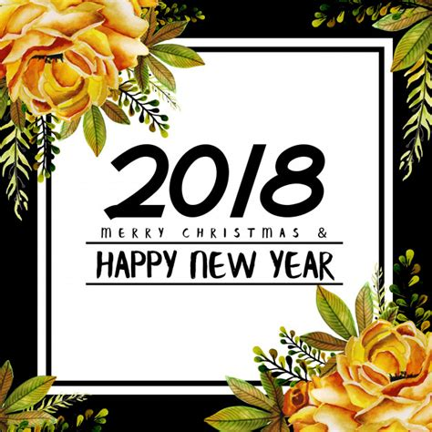 new year flower fair 2018 watercolor floral new year 2018 vector premium