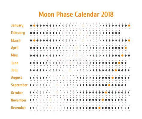 vector astrologische kalender voor 2018 de kalender de maanfase voor donkergrijs op een