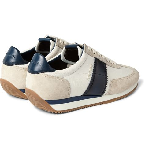 tom ford leather and suede panelled canvas sneakers in