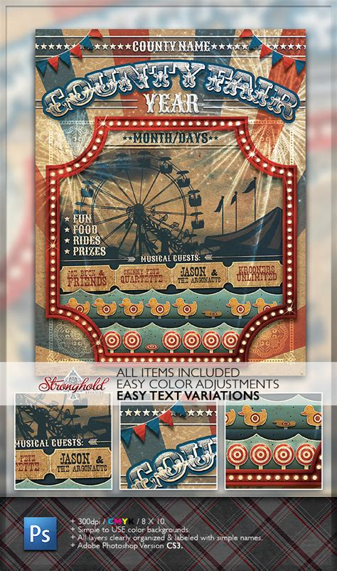 fair flyer template free vintage county fair carnival flyer template on behance