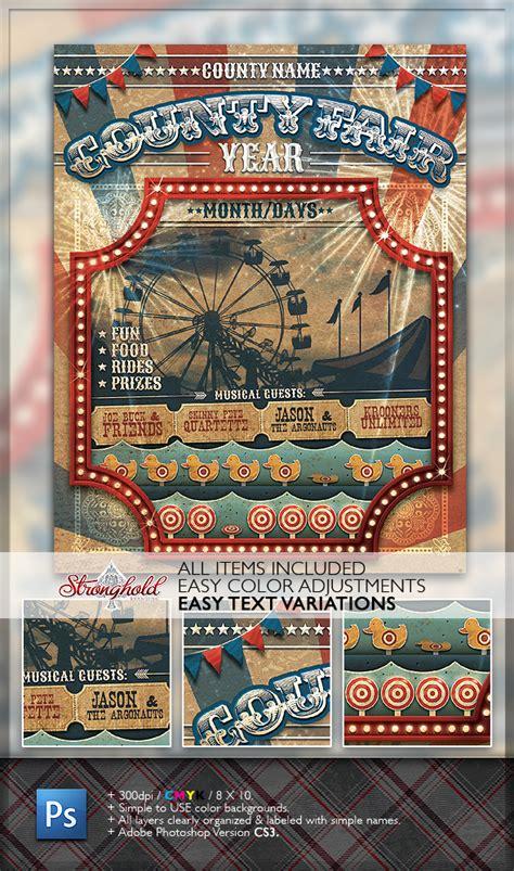 Vintage County Fair Carnival Flyer Template On Behance Fair Flyer Template