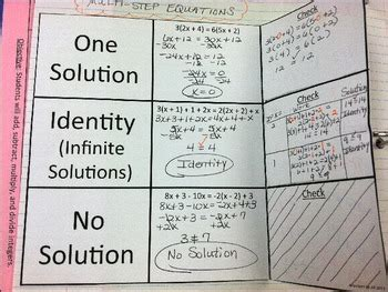multi step equations with no solution and identity by