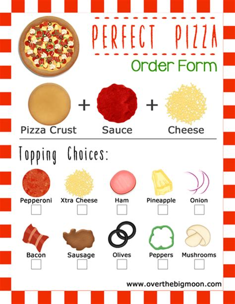 pizza order form template and pizza family idea w printable order forms
