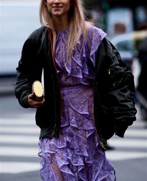 Softlens X2 Lace Black Series dress fashion week 2017 streetstyle purple purple dress ruffle ruffle dress see