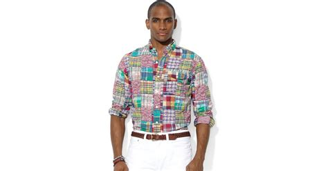 ralph polo patchwork madras bleecker pocket shirt