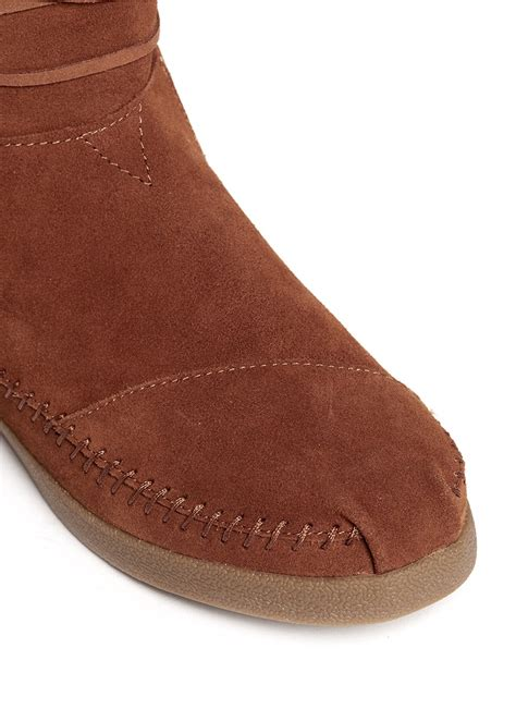 toms tribal trim suede boots in brown lyst