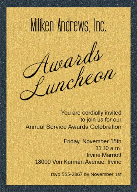 award invitation template shimmery gold on onyx layered business awards invitations