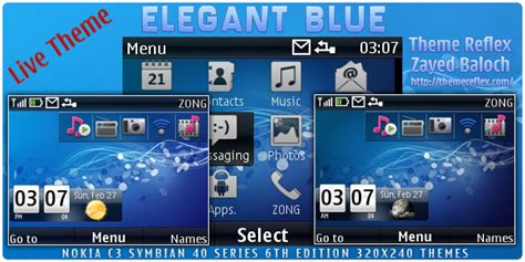 nokia c3 01 themes zedge elegant blue live theme for nokia c3 x2 01 themereflex