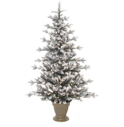 lighted tree in urn 4 x 30 quot pre lit flocked flat artificial tree in