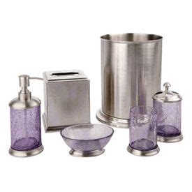 Lilac Crackle Glass And Nickel Bath Accessories By