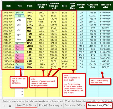 stock portfolio template the best free stock portfolio tracking spreadsheet using
