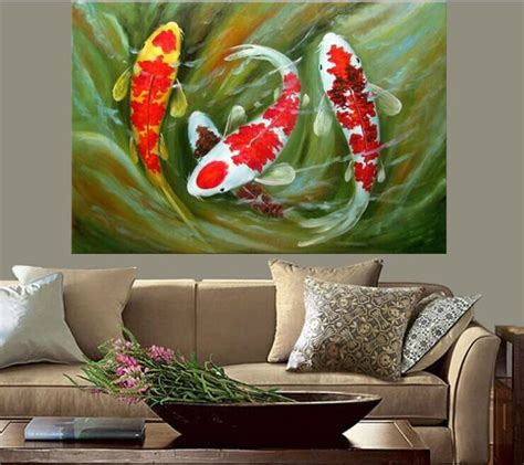 Home Decor Wholesale Supplier koi fish oil painting feng shui painting framed canva
