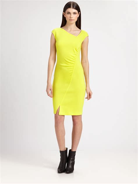 How To Copy Guccis Asymmetrical Yellow Dress For Less by Lyst St Knit Asymmetrical Dress In Yellow