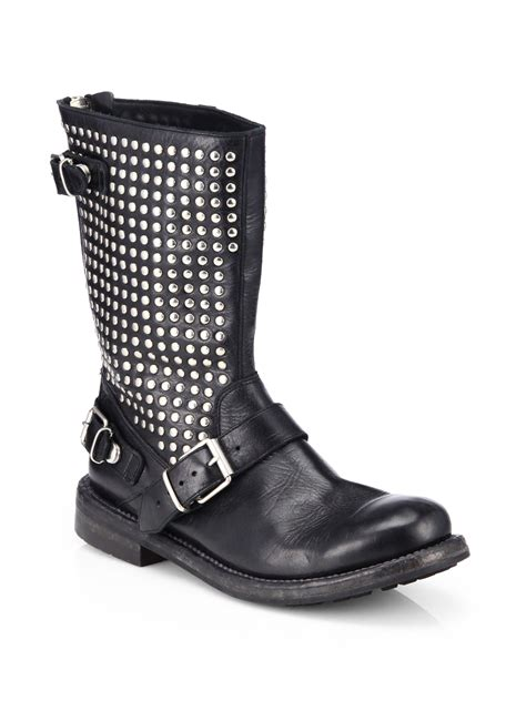 black leather moto boots burberry athol studded leather moto boots in black lyst