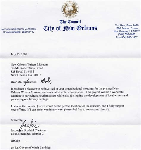 Letter Of Support For Housing Project New Orleans Writers Housing Outreach Project Jackie Clarkson Letter Of Support