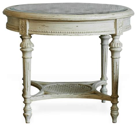 traditional accent tables french country antique white caned top stretcher
