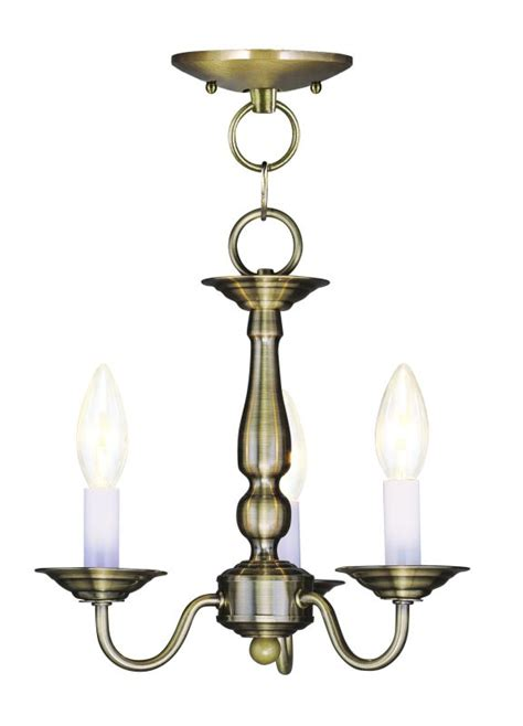 Williamsburg Light Fixtures Livex Lighting 5009 01 Antique Brass Williamsburg 3 Light Semi Flush Ceiling Fixture
