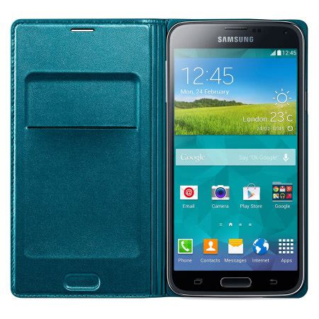 Flip Cover S5 official samsung galaxy s5 flip wallet cover blue topaz