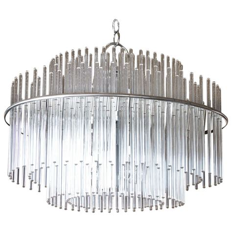 Glass Rod Chandelier Glass Rod And Chrome Scolari Chandelier At 1stdibs