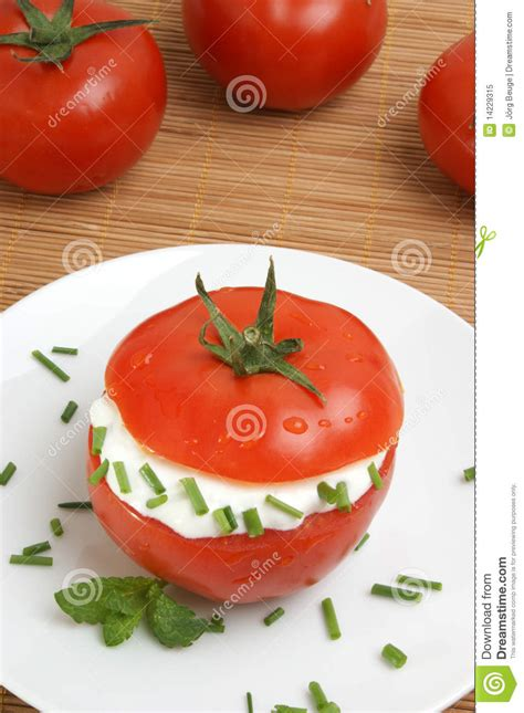 Cottage Cheese And Tomato by Tomato With Lowfat Cottage Cheese And Dill Royalty Free